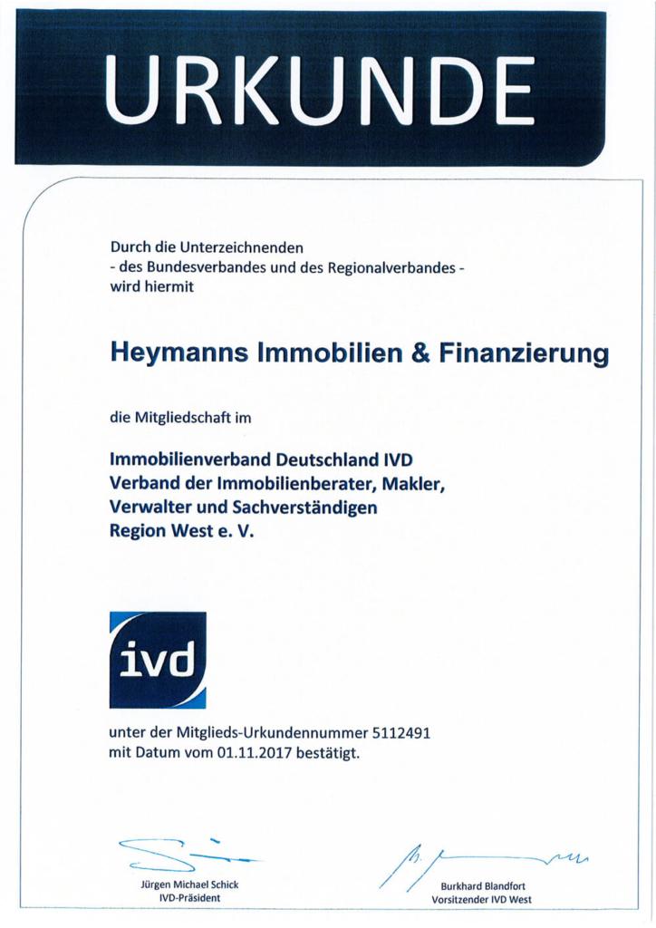 IVD Urkunde Heymanns Immobilien