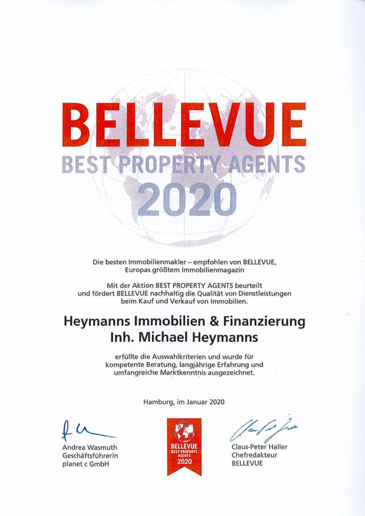 Urkunde Bellevue Best Property Agents 2020 Heymanns Immobilien