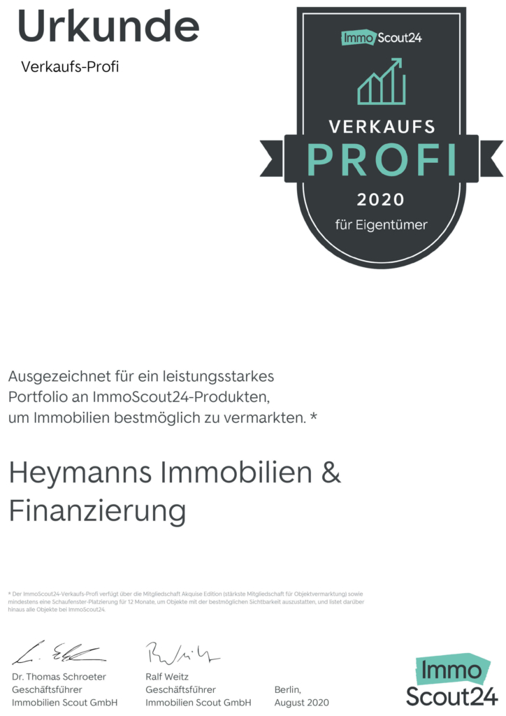 Urkunde Verkaufsprofi 2020 immoscout24